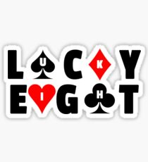 Lucky Eight Card Suits Design Sticker