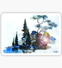 Watercolor Forest and Pond Sticker