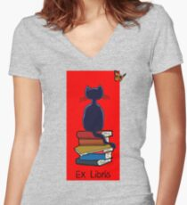 Ex Libris - Cat and Butterfly Women's Fitted V-Neck T-Shirt