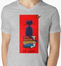 Ex Libris - Cat and Butterfly Men's V-Neck T-Shirt