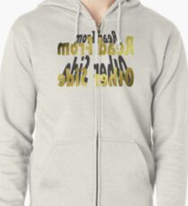 Read From Other Side Design Zipped Hoodie