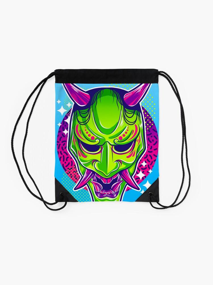 Alternate view of Neon Noh - Hannya Drawstring Bag