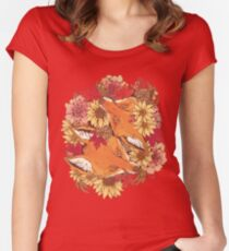 Autumn Fox Bloom Women's Fitted Scoop T-Shirt