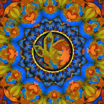 Autumn Leaves on Blue  by Gravityx9