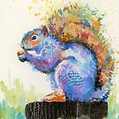 Spring Squirrel with Red Kicks by Eva Crawford