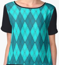Cyan and Cyan Argyle Chiffon Top