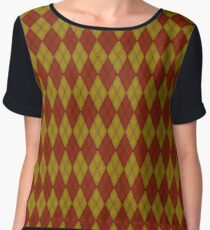 Brown and Brown Argyle Chiffon Top