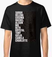 Orphan Black Clone Names With Tag Numbers Classic T-Shirt