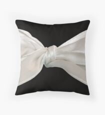 White Bow on Black Throw Pillow