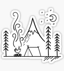 Camping Scene Outdoors Sticker