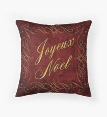 Joyeux Noel In Red And Gold Throw Pillow