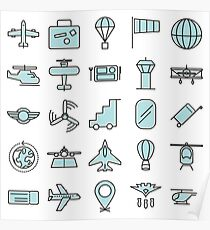 Aviations Icons Planes and Aircraft Poster
