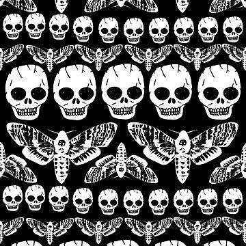 Death's head moth and Skulls pattern by GwynplaineStuff