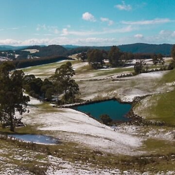 Snow scattered hills, Wilmot Tasmania by Wanderlustdrone