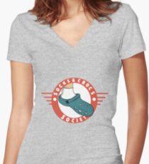 Socks & Crocs society crest Women's Fitted V-Neck T-Shirt
