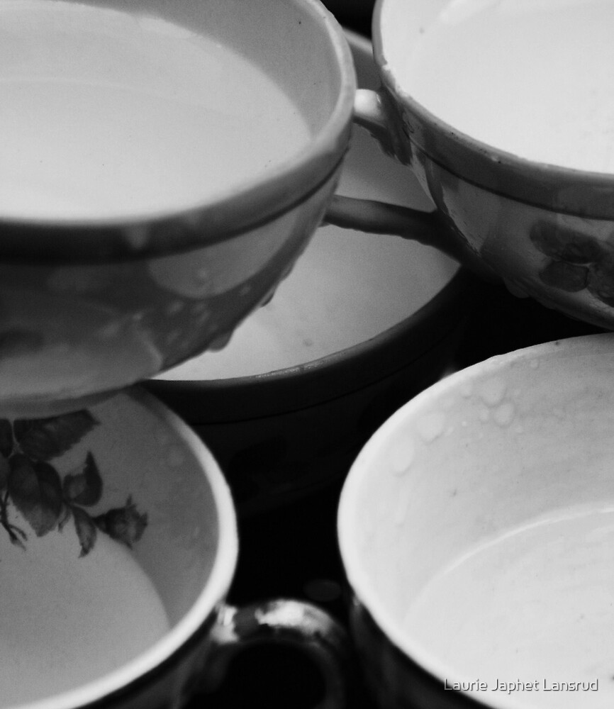tea cups and rain by Laurie Japhet Lansrud