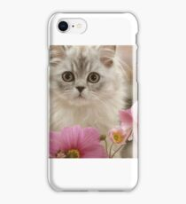 Beautiful Cat with flowers iPhone Case/Skin