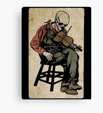 The Death Fiddler And His Sparrow Companion Canvas Print