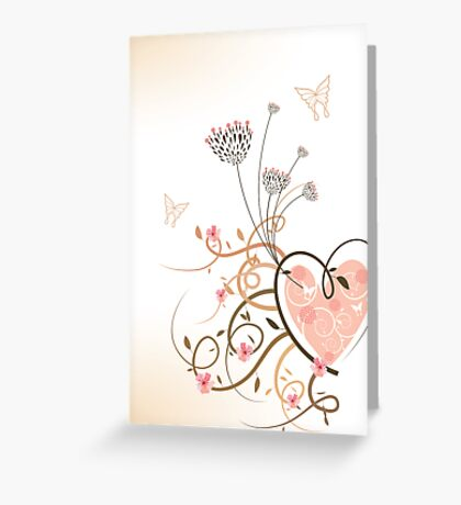 Pink Heart and Floral Swirls Greeting Card