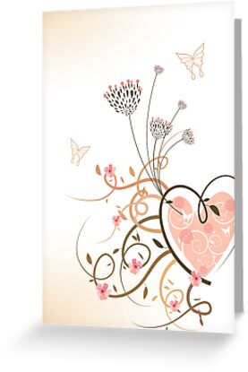 Pink Heart and Floral Swirls by fatfatin