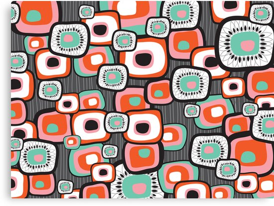 Retro Sushi Flower Squares by fatfatin
