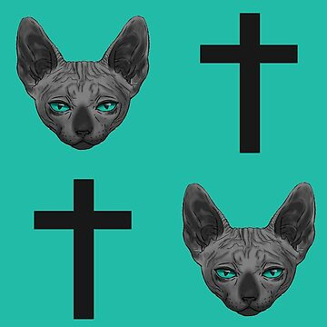 Cats and Crosses Teal by Roksva
