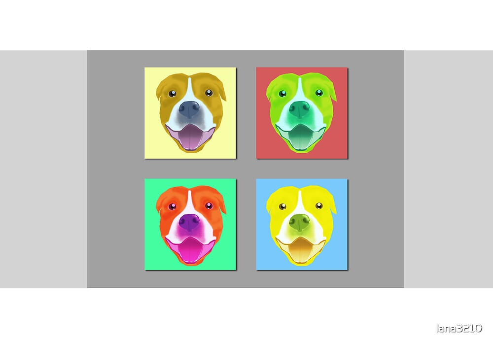 Smiling Staffy card&print by lana3210