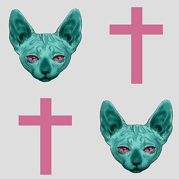 Cats and Crosses Teal & Pink by Roksva