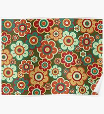 Retro Pop Red and Green Daisies Poster