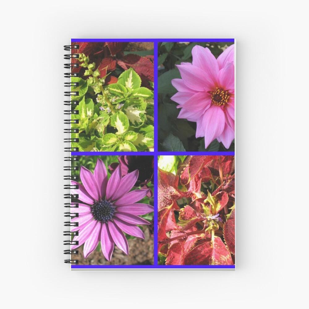 Summer Flowers and Plants Collage Spiralblock