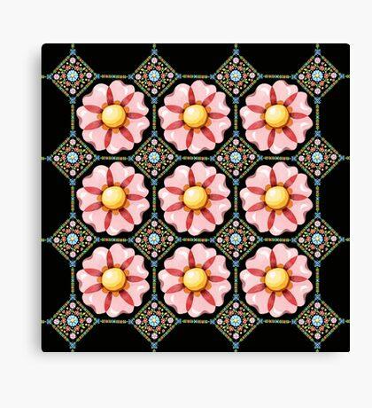 Pink Daisy Boho Canvas Print