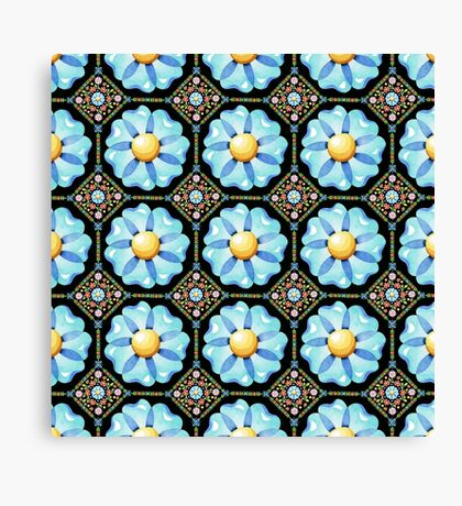 Blue Flower Boho Chic Canvas Print