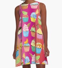 Cupcakes Galore Delicious Yummy Sugary Sweet Baked Treats A-Line Dress