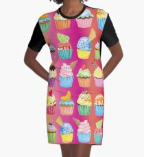 Cupcakes Galore Delicious Yummy Sugary Sweet Baked Treats Graphic T-Shirt Dress