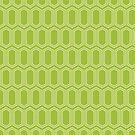 Elongated Hexagon Geometric Pattern (Line White on Green) by KristyKate