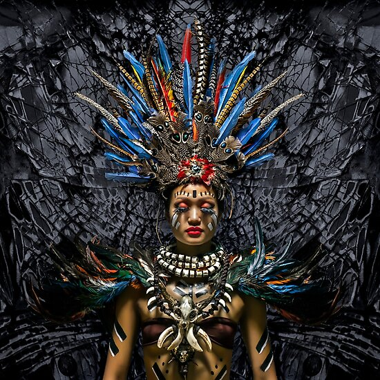 Feathered Tribal Princess - Travel fine art Photographic Print by Glen Allison