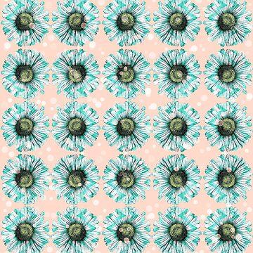 Minzgrünes grünes Chevron-Gänseblümchen auf Pfirsich sprudelt Kawaii französische Art-Blumenblumen-Illustration von Saburkitty