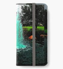 Blue/Green Fountain at a Houston Park iPhone Wallet/Case/Skin