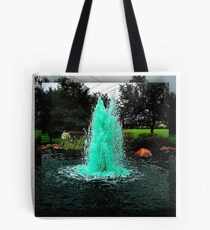 Blue/Green Fountain at a Houston Park Tote Bag