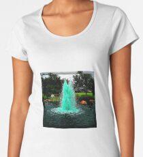 Blue/Green Fountain at a Houston Park Women's Premium T-Shirt
