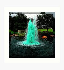 Blue/Green Fountain at a Houston Park Art Print