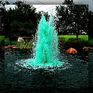 Blue/Green Fountain at a Houston Park by ngwoosh