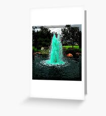Blue/Green Fountain at a Houston Park Greeting Card