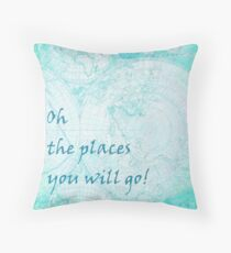 Bright Aqua Blue World Map Inspirational Quote, back to school Throw Pillow