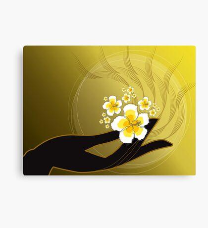 Buddha's Hand and White Hibiscus Canvas Print