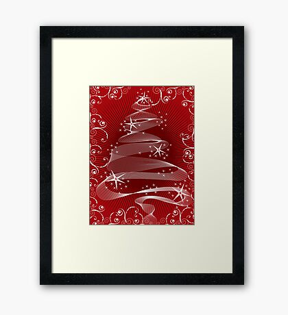 Abstract Red X'mas Tree and Swirls Framed Print