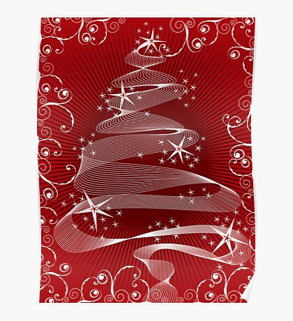 Abstract Red X'mas Tree and Swirls Poster