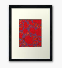 Marbled paper in red and orange Framed Print