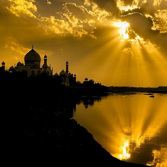 Taj Mahal God Rays - Travel fine art Photographic Print by Glen Allison