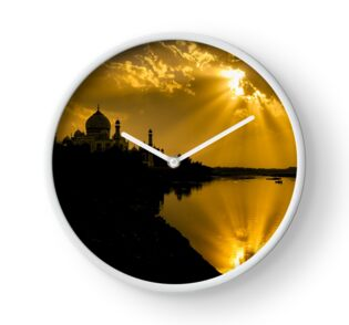 Taj Mahal God Rays - Clock by Glen Allison